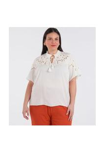 Bata Com Bordados E Amarração Curve & Plus Size | Ashua Curve E Plus Size | Branco | Eg