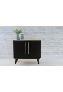 Armário Pés Palito Buffet 2 Portas De Madeira Maciça Preto Celeste - 90X40X79,5 Cm