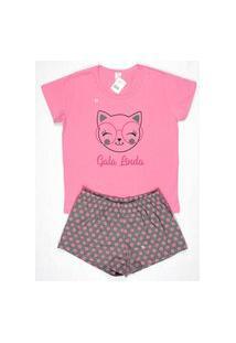 Short Doll Baby Look Feminino Meia Malha Gola U Brezzi Estampa Gata Cor Rosa