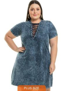 Vestido Estonado Com Transpasse Azul
