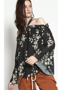 Blusa Ciganinha Floral Com Amarraã§Ã£O - Preta & Off Whitemob