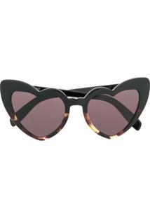 Saint Laurent Eyewear Óculos De Sol De Coração - Preto