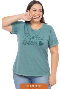 T-Shirt Feminina Merci Verde Mescla