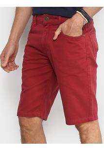 Bermuda Coca Cola Sarja Color Comfort Masculina - Masculino-Vermelho