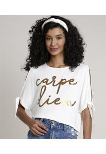 "Blusa Feminina Open Shoulder ""Carpe Diem"" Manga Curta Decote Redondo Off White"