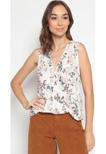 Blusa Floral Com Transpasse- Off White & Rosa - Dzarhering