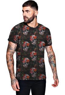 Camiseta Di Nuevo Florida Com Caveiras Floral Skull Masculina Preta