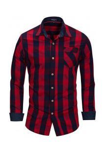 Camisa Masculina Xadrez Bolso Frontal Manga Longa - Vermelho