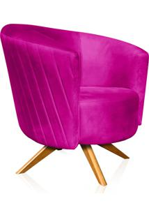 Poltrona Decorativa Angel Tressê Suede Pink Com Base Giratória Madeira - D'Rossi