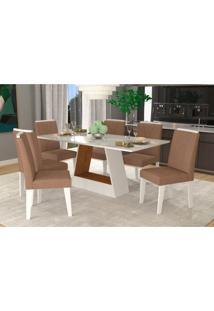 Conjunto De Mesa De Jantar Retangular Alana Com 6 Cadeiras Nicole Suede Pluma E Savana