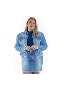 Jaqueta Cropped Jeans Ecolife Azul
