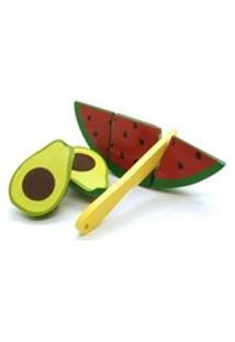 Colecao Comidinhas - Kit Frutinhas Com Corte (Abacate E Melancia) + Faca