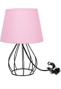 Abajur Cebola Dome Rosa/Bolinha Com Aramado Preto