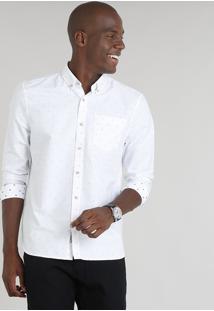 Camisa Masculina Comfort Mini Print Com Bolso Manga Longa Branca