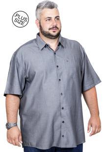 Camisa Plus Size Bigshirts Manga Curta Modal - Cinza Grafite