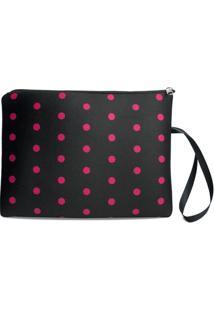 Necessaire Porta Biquíni Em Neoprene Tritengo - Black Poá Pink Zíper Preto - Feminino-Preto+Pink