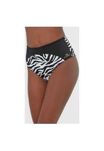 Calcinha Banho De Mar Moda Praia Hot Pant Zebra Preta/Branco