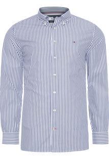 Camisa Masculina Basic Stripe - Azul