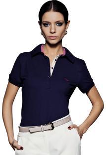 b6fa372b79 Camisa Pólo Algodao Azul Marinho feminina