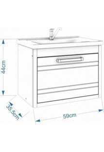 Gabinete Para Banheiro 1 Cuba Porta Basculante E Gaveta Interna Jade 59 Cm Mgm Móveis