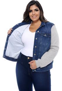 Jaqueta Plus Size Cambos Jeans & Moletom Forrada-48