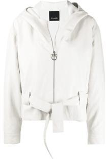 Pinko Jaqueta Com Capuz E Cinto - Branco