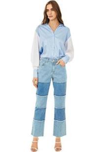 Calça Iódice Reta Cós Intermediário Com Recorte Jeans Feminina - Feminino