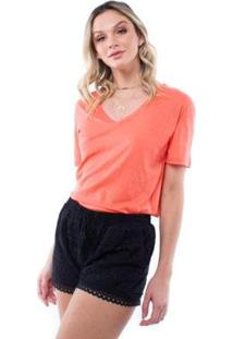 Blusa Colors Decote V Pop Me - Feminino-Coral