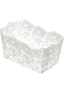 Cesta Plástica Lyor Impermeável Crochê Branca 22X15X9Cm - 28739