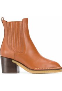Tod'S Ankle Boot Com Salto 70Mm - Marrom