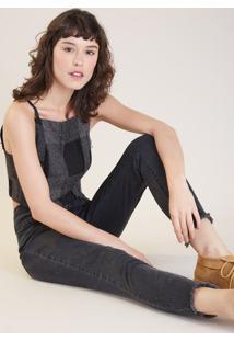 Calça Jeans Skinny Black Poá Metal Preto