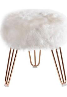 Puff Cloud Base Cobre Pele Sintetica Branca 46 Cm - 60091 - Sun House