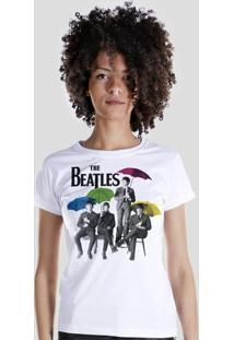 Camiseta Bandup! The Beatles Umbrella Colors - Feminino-Branco