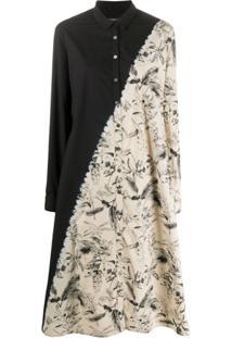 Suzusan Botanical-Print Shirt Dress - Preto