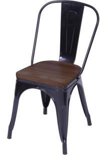 Cadeira Iron Com Assento Em Madeira Cor Preta - 59146 - Sun House