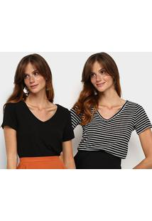 Kit Camiseta Avanzi Gola V 2 Peças Feminino - Feminino