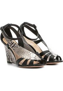 Sandália Shoestock Anabela Snake Feminina - Feminino-Preto