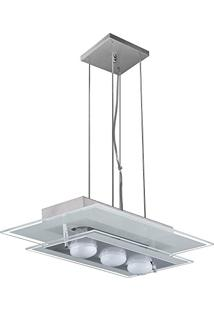 Pendente De Vidro Para 03 Lâmpadas 50 Cm X 28 Cm - Branco