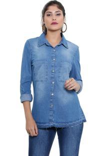 Camisa Feminina Jeans Manga Longa Bordado Marisa
