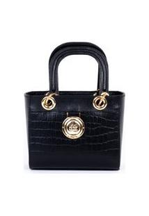 Bolsa Tote Handbag Pequena Couro Croco Preto Cbk