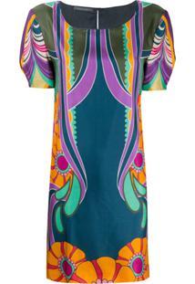Alberta Ferretti Vestido De Seda Com Estampa De Flores - Azul