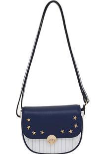 Bolsa Smartbag Transversal Estrela - Feminino-Marinho+Branco