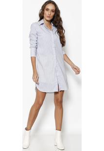 b6d8d90d75 ... Camisa Longa Listra - Branca   Azul - Le Lis Blancle Lis Blanc