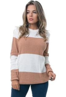 Blusa Tricot Pkd Com Listras Feminina - Feminino-Caramelo+Off White