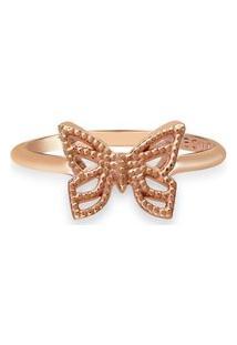 Anel Life Enigma Borboleta Com Banho Ouro Rosé