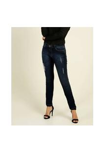 Calça Jeans Destroyed Stretch Skinny Feminina