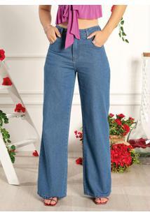 Calça Jeans Wide Leg Com Bolsos Sawary