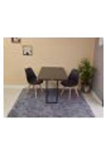 Conjunto De Mesa Dobrável Retrátil 120 X 75 Preta + 2 Cadeiras Leda - Preta