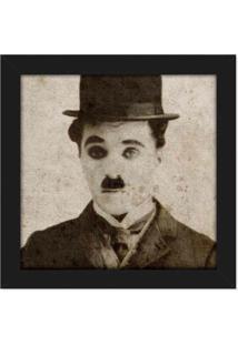 Quadro Retrô Charlie Chaplin Geek10 Preto