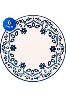 Conjunto De Pratos Para Sobremesa 6 Peças Floreal Energy - Oxford - Branco / Azul